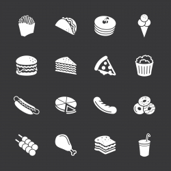 Fast Food Icons - White Series | EPS10