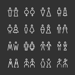 Men & Women Icon - White Line Series