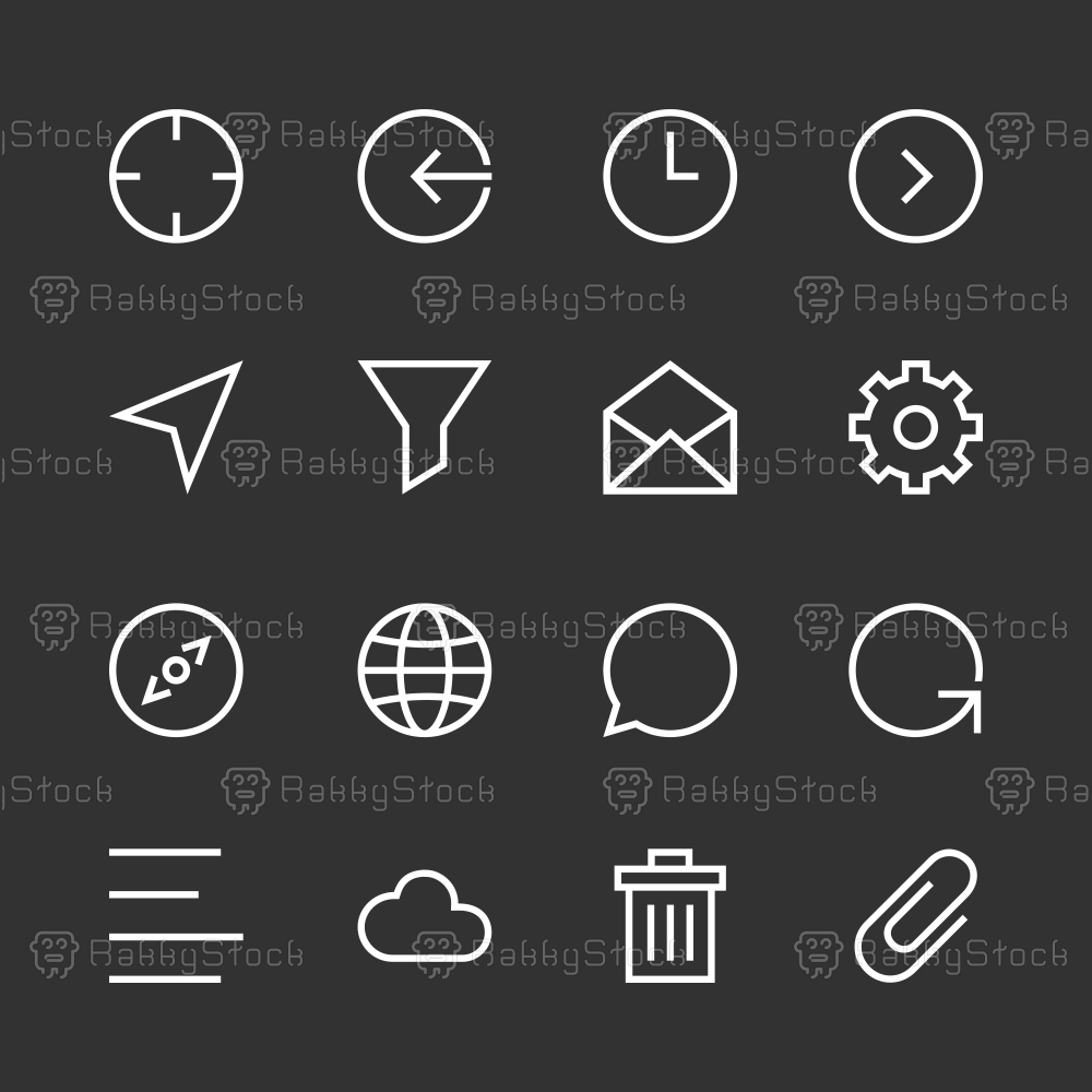 Basic Icon Set 2 - White Line Series