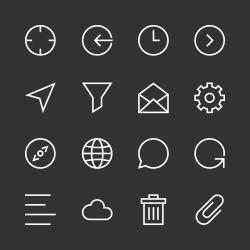 Basic Icon Set 2 - White Line Series