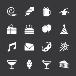 Birthday Celebrations Party Icons - White Series | EPS10
