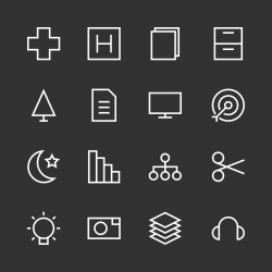 Basic Icon Set 4 - White Line Series