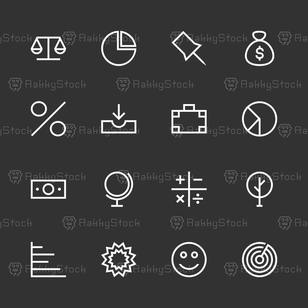 Basic Icon Set 6 - White Line Series