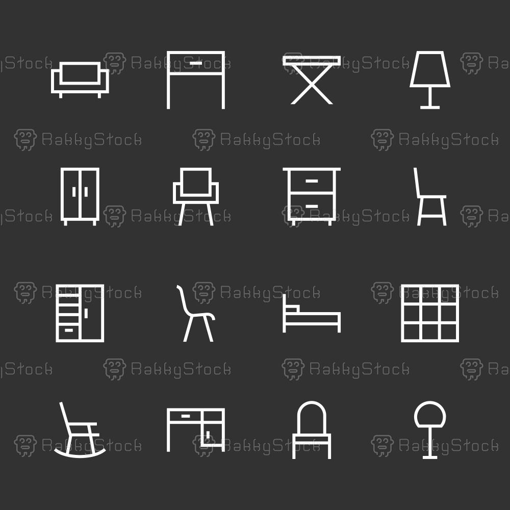 Furniture Icon - White Line Series