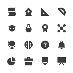Education & School Icon Set 1 - Gray Series