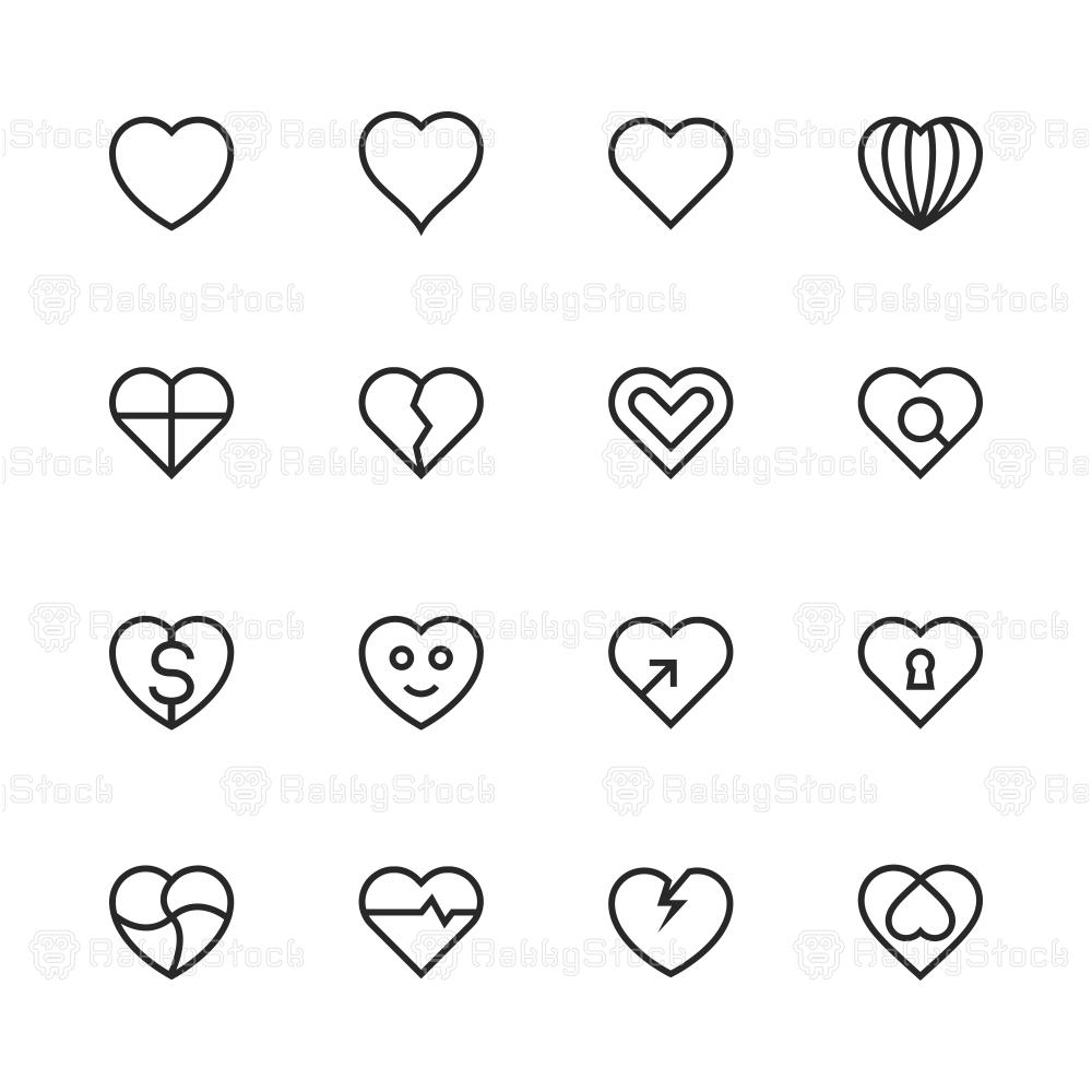 Heart Icon Set 1 - Line Series