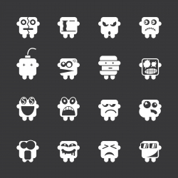 Emoticons Set 2 - White Series | EPS10