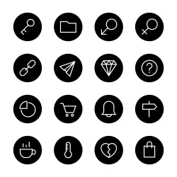 Basic Icon Set 8 - Black Circle Series