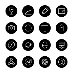 Basic Icon Set 10 - Black Circle Series