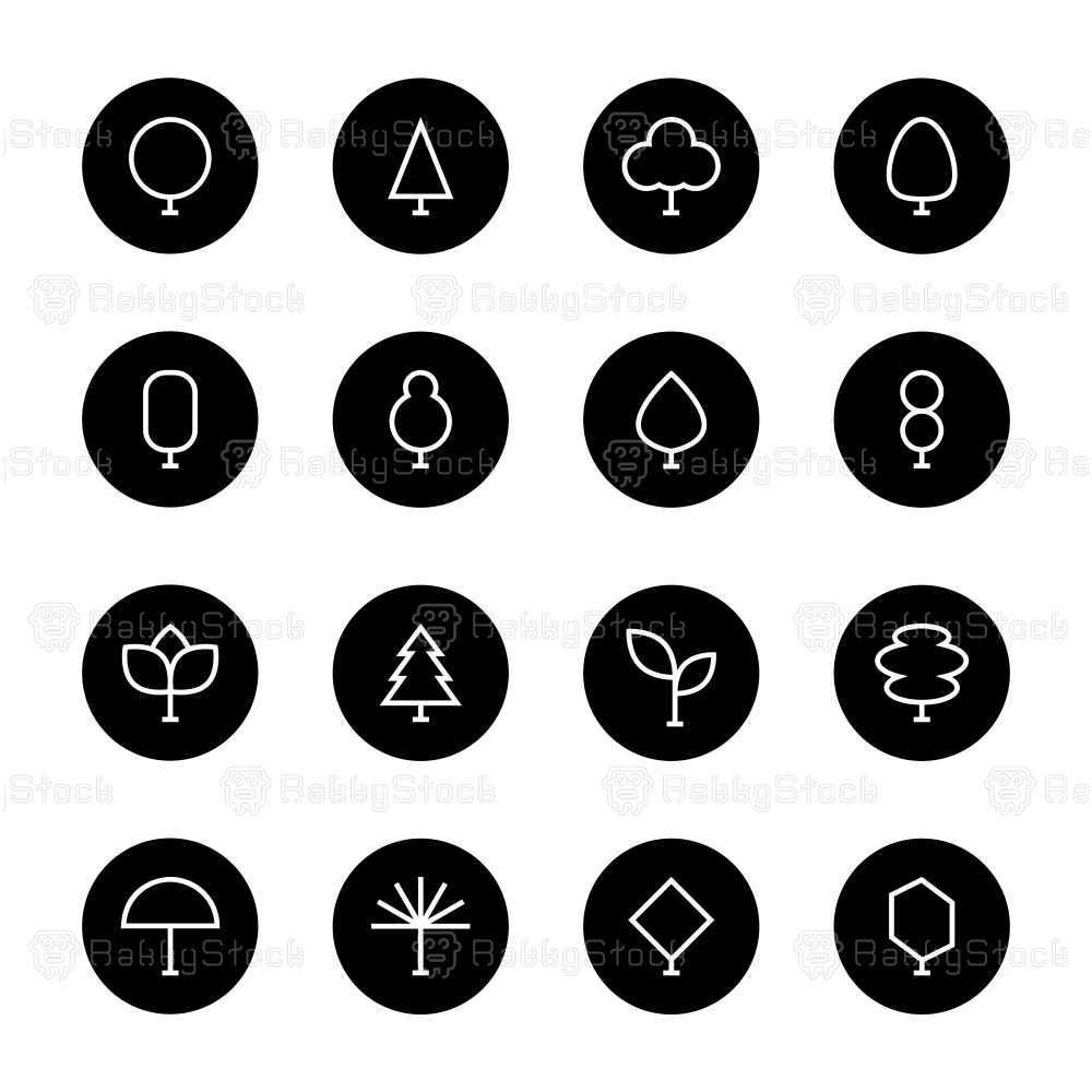 Tree Icon - Black Circle Series