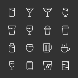 Drink Icon Set 1 - White Line Series