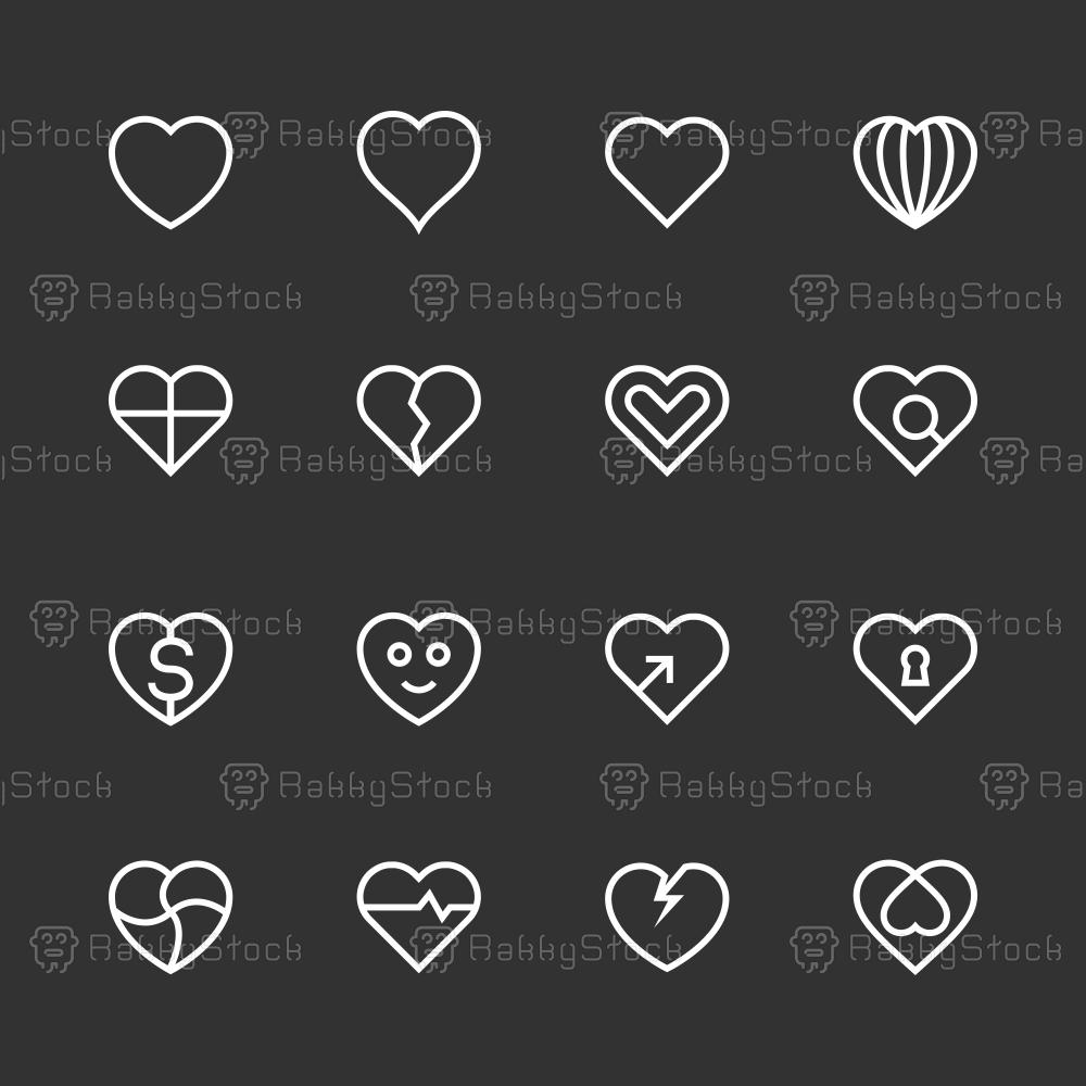 Heart Icon Set 1 - White Line Series