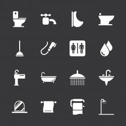 Bath and Bathroom Icons - White Series | EPS10