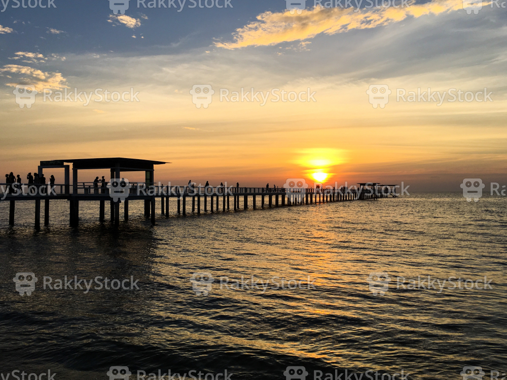 The Bridge in Sunset at Chonburi, Thailand