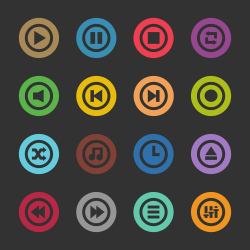 Music Player Icon - Color Circle Series