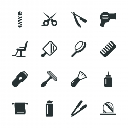 Hair Care Barber Silhouette Icons
