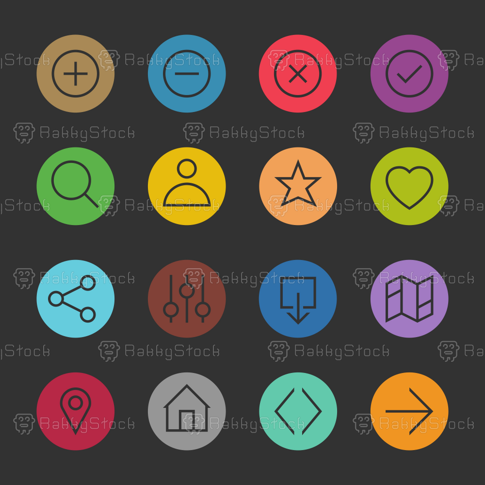 Basic Icon Set 1 - Color Circle Series