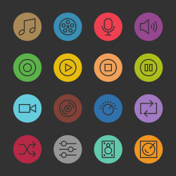 Basic Icon Set 5 - Color Circle Series