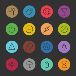 Basic Icon Set 7 - Color Circle Series