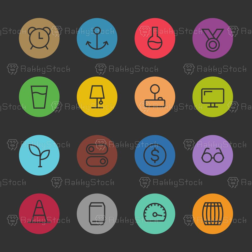 Basic Icon Set 9 - Color Circle Series