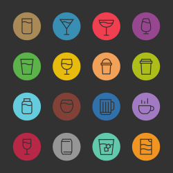 Drink Icon Set 1 - Color Circle Line Series