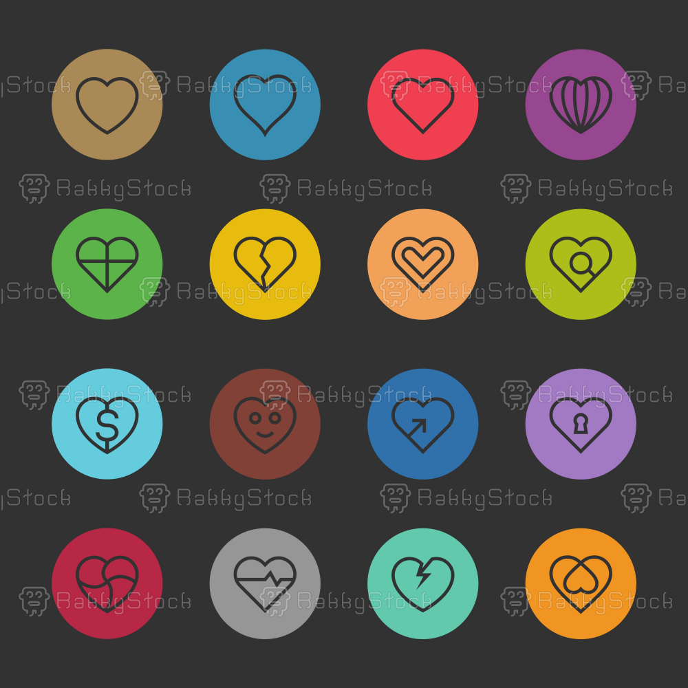 Heart Icon Set 1 - Color Circle Line Series