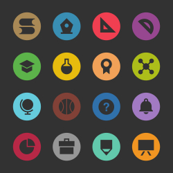 Education & School Icon Set 1 - Color Circle Series