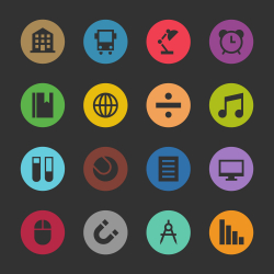 Education & School Icon Set 2 - Color Circle Series