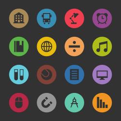 Education & School Icon Set 2 - Color Circle Series