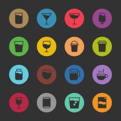 Drink Icon Set 1 - Color Circle Series