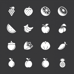 Fruit Icons - White Series | EPS10
