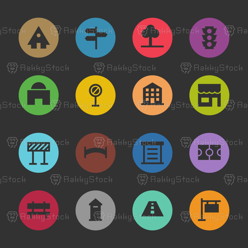 City Element Icon - Color Circle Series