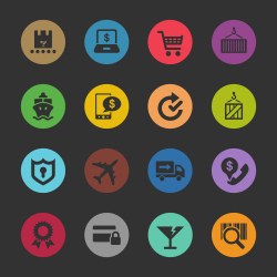 Online Shopping and Shipping Icons - Color Circle Series
