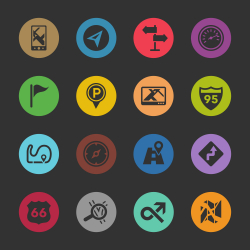 Navigation and Map Icons - Color Circle Series