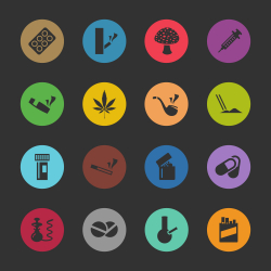 Narcotics and Drugs Icons - Color Circle Series