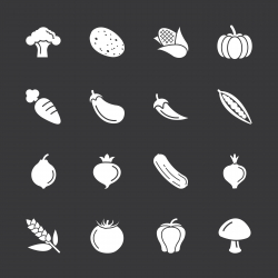 Vegetable Icons - White Series | EPS10