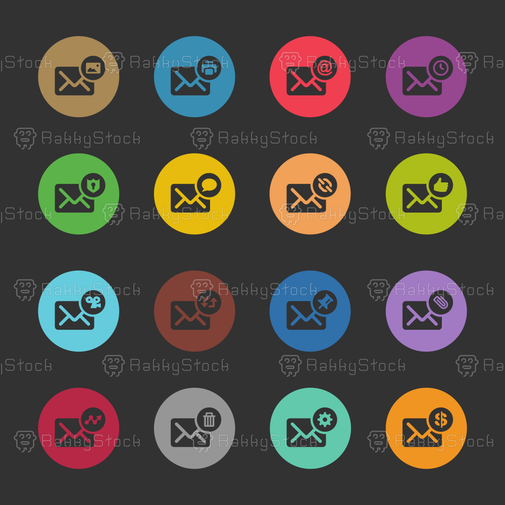 Email Icons Set 2 - Color Circle Series