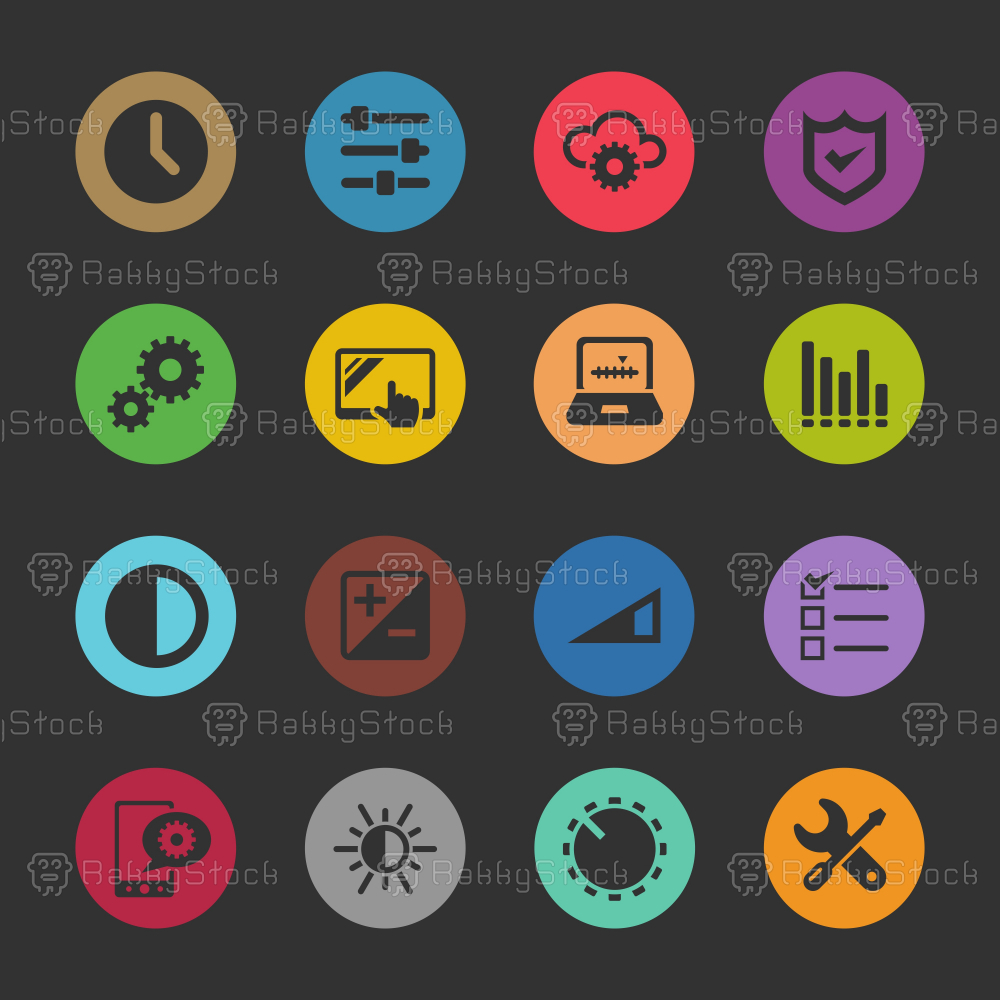 Settings Icons - Color Circle Series