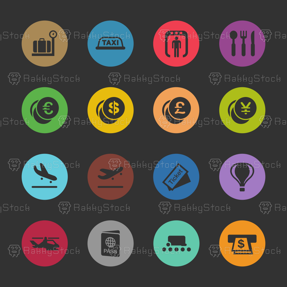 Air Travel Icons - Color Circle Series