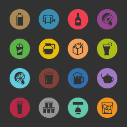 Drink Icons Set 3 - Color Circle Series