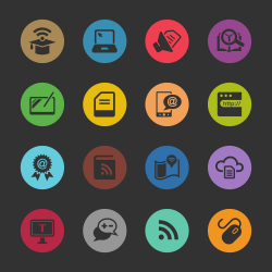 Online Education Icons - Color Circle Series