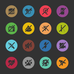 Prohibitions Icons Set 2 - Color Circle Series