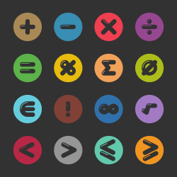 Mathematics Icons - Color Circle Series