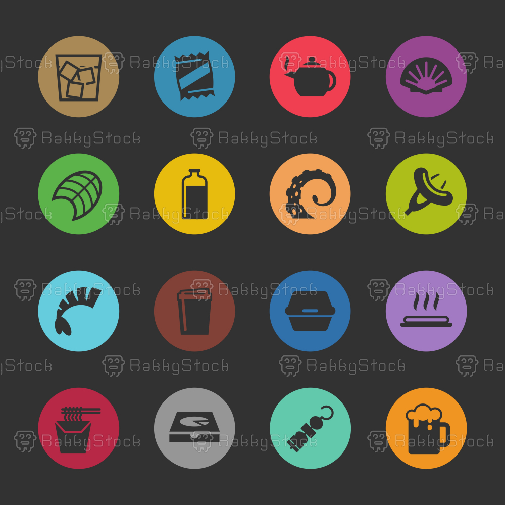 Food and Drink Icons Set 4 - Color Circle Series