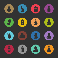 Bottles Icons Set 3 - Color Circle Series