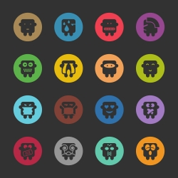 Emoticons Set 4 - Color Circle Series