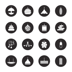 Lamp Design Icons - Black Circle Series