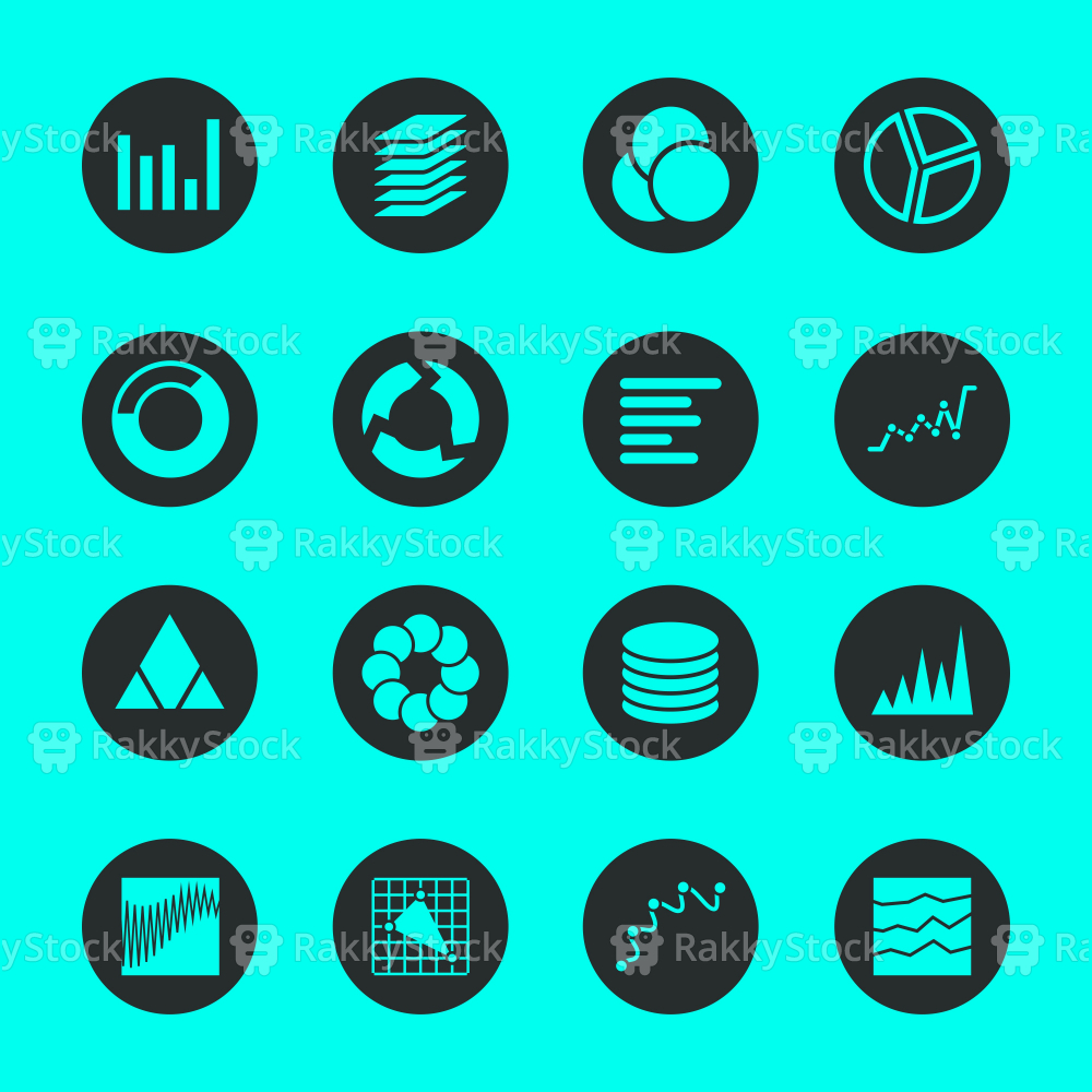 Chart and Graph Icons - Black Circle Series