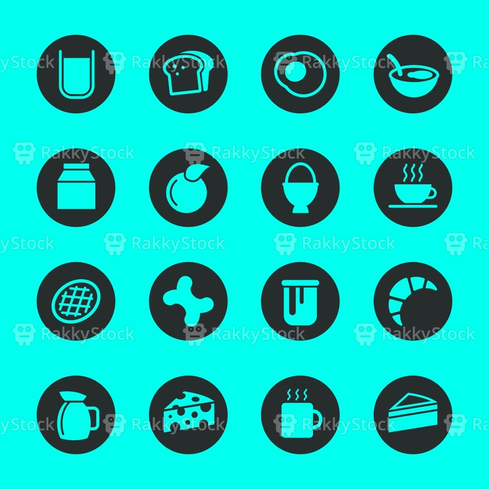Breakfast Icons - Black Circle Series