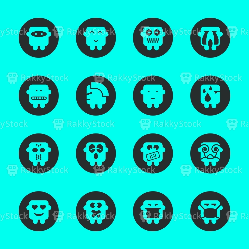Emoticons Set 4 - Black Circle Series